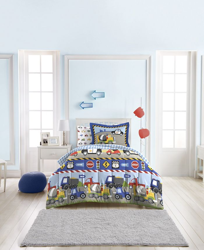 Dream Factory - Trains And Trucks Twin Comforter Set