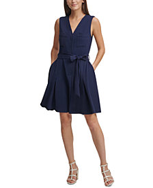 DKNY Tie-Front Fit & Flare Dress