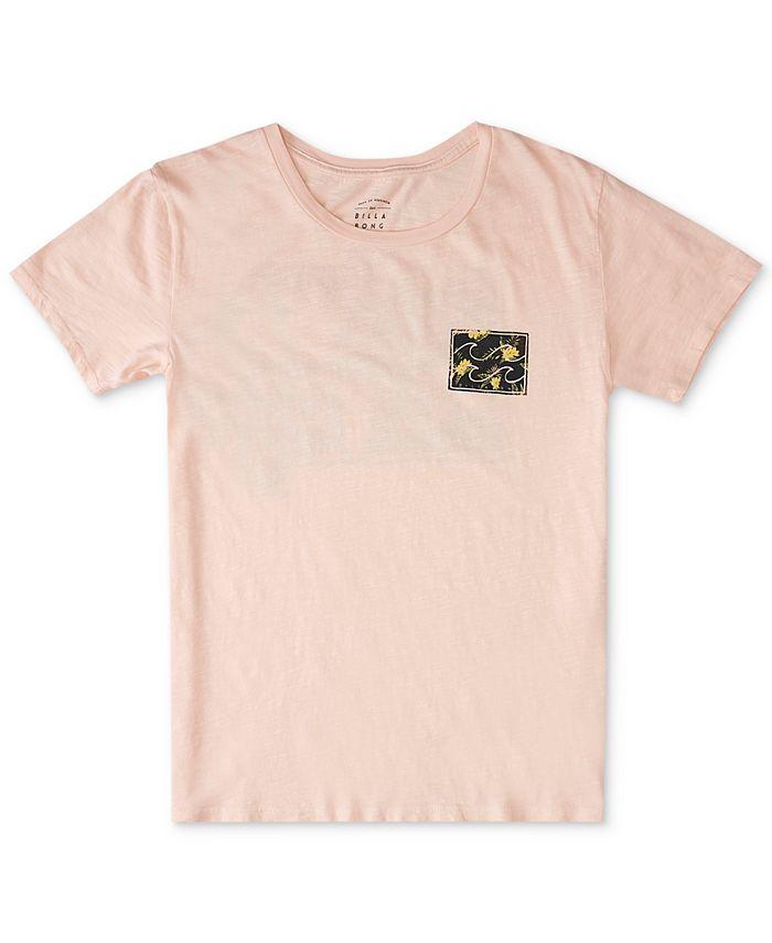 Billabong - Juniors' Floral-Logo Cotton T-Shirt