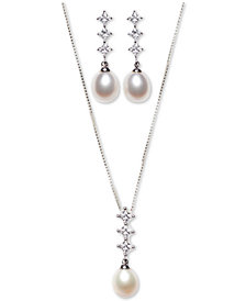 Cultured Freshwater Pearl (7x9mm) and Cubic Zirconia Pendant Necklace & Earring Set in Sterling Silver