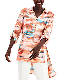 Willow Drive Button-Front Asymmetrical-Hem Tunic Top