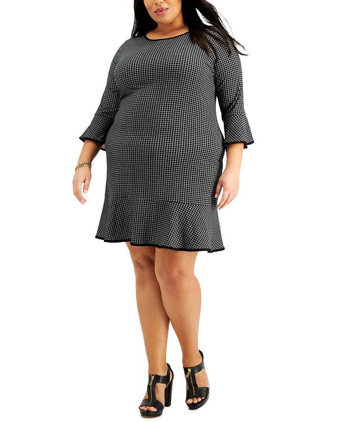 Michael Kors - Plus Size Sailor Grid A-Line Dress