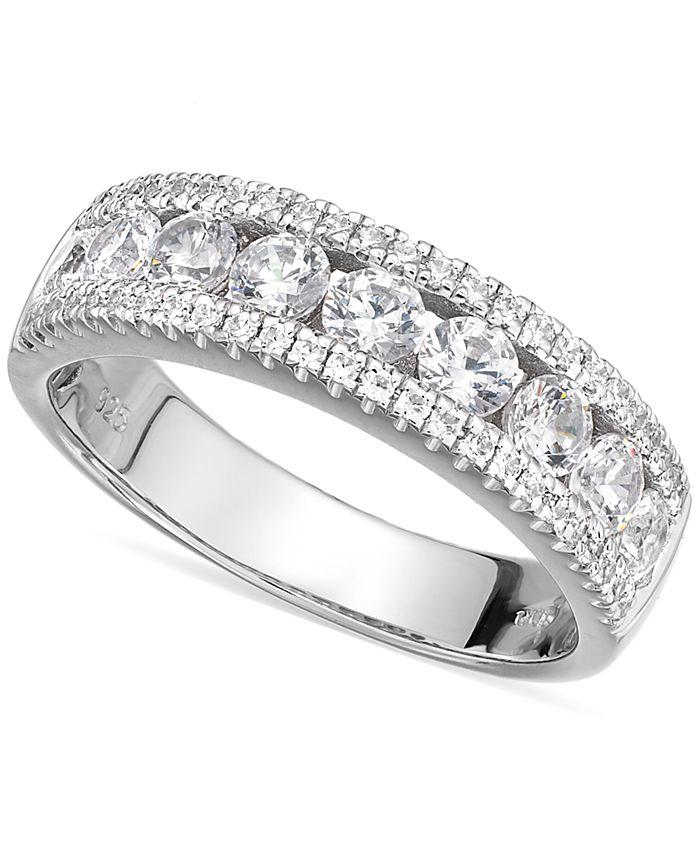 Arabella - Sterling Silver Swarovski Zirconia Three-Row Ring (2-1/10 ct. t.w.)