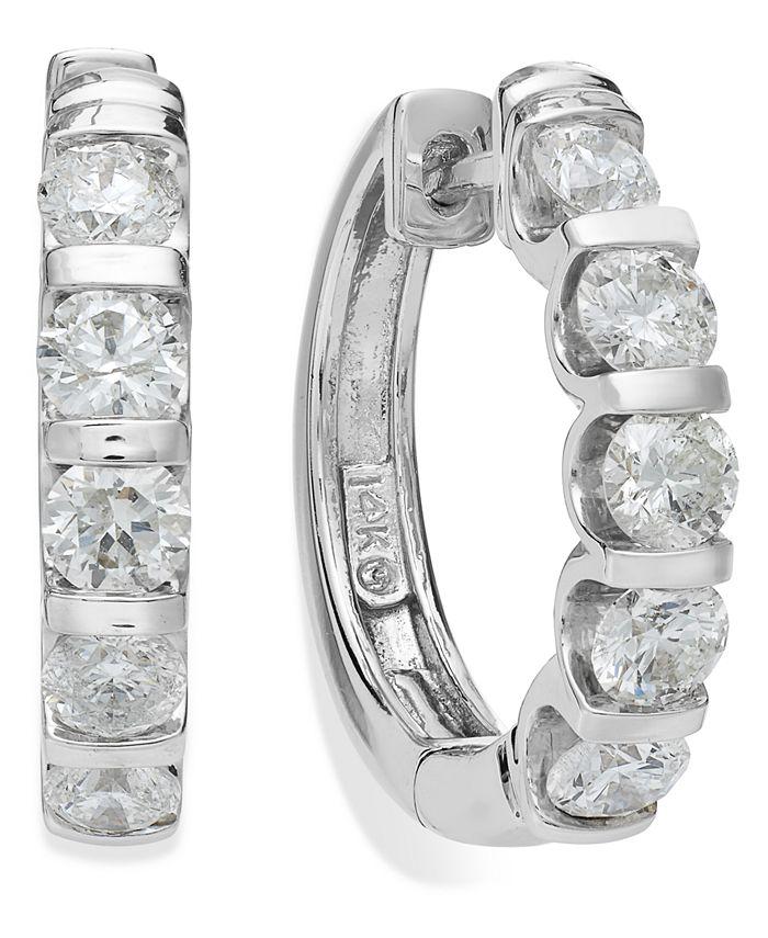 Macy's - 14k White Gold Diamond Hoop Earrings (2 ct. t.w.)