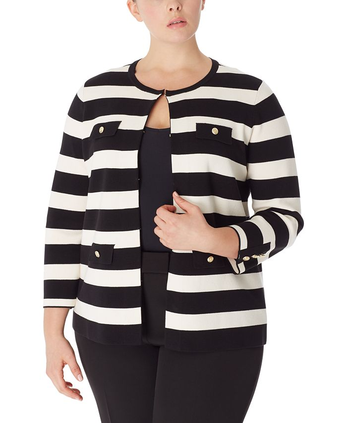 Anne Klein - Plus Size Striped Cardigan