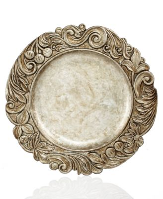 Jay Imports Chargers, Silver Wood Textured Charger Plate