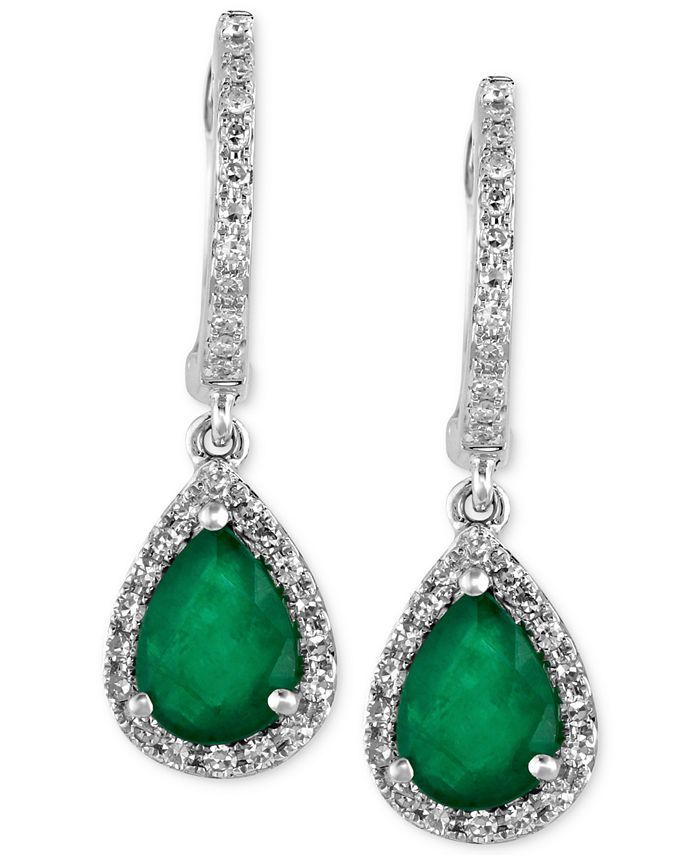 EFFY Collection - Emerald (1-1/8 ct. t.w.) and Diamond (1/4 ct. t.w.) Drop Earrings in 14k White Gold