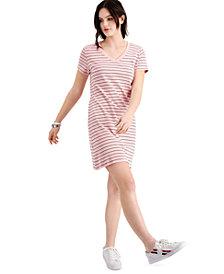 Tommy Hilfiger Cotton Logo V-Neck T-Shirt Dress