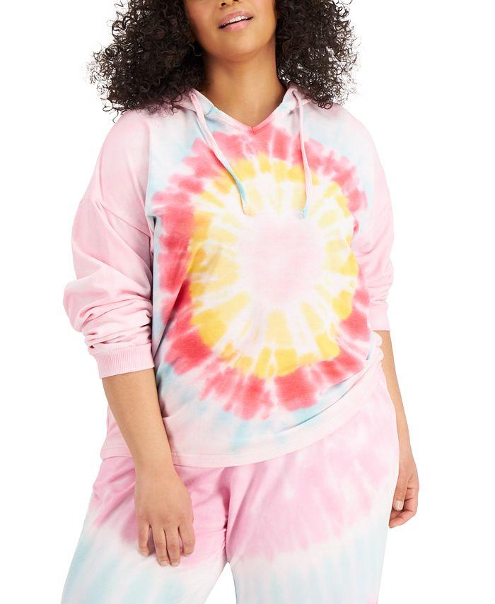 FULL CIRCLE TRENDS - Trendy Plus Size Tie-Dyed Hoodie Sweatshirt