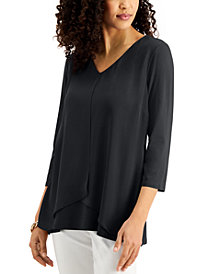 JM Collection Solid 3/4-Sleeve Chiffon-Overlay Top, Created for Macy's