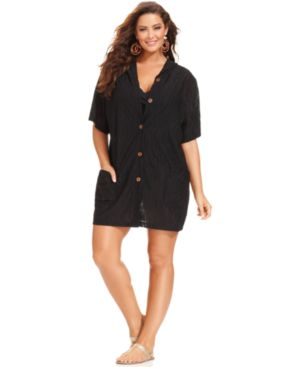 J Valdi Plus Size Hooded Button-Front Cover Up Women's Swimsuit