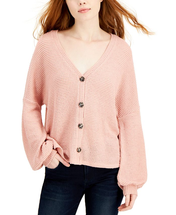 Hooked Up by IOT - Juniors' Blouson-Sleeve Cardigan