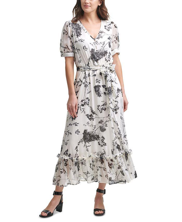 Calvin Klein - Floral-Print Chiffon Maxi Dress