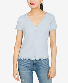 Hippie Rose Juniors' Lace Trim Button-Up Top