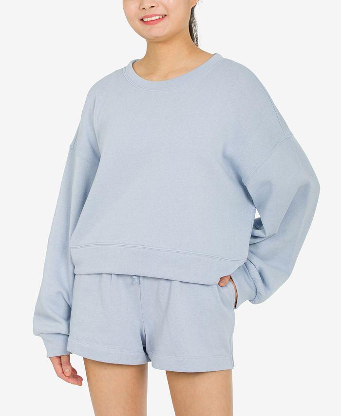 Hippie Rose - Juniors' Balloon-Sleeve Sweatshirt