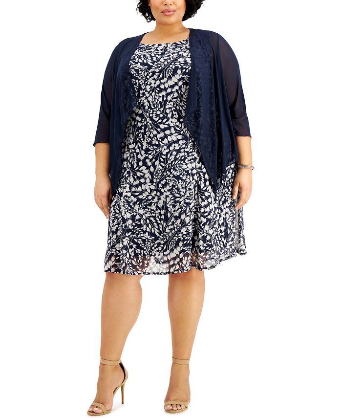 Connected - Plus Size Floral-Print Dress & Jacket
