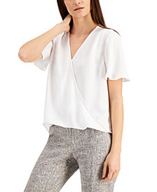 Alfani Flutter-Sleeve Surplice Blouse, Created for Macy's