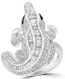 EFFY® Diamond (1-3/8 ct. t.w.) & Emerald Accent Alligator Ring in 14k White Gold