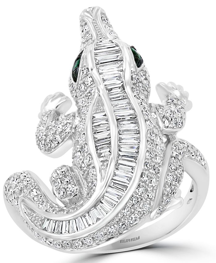 EFFY Collection - EFFY® Diamond (1-3/8 ct. t.w.) & Emerald Accent Alligator Ring in 14k White Gold