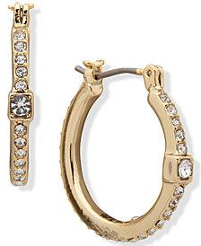 "DKNY Crystal Cube Small Hoop Earrings, .9"""