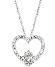 Diamond Heart Pendant Necklace (1/4 ct. t.w.) in 10k White Gold