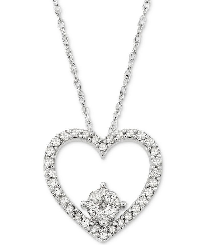 Macy's - Diamond Heart Pendant Necklace (1/4 ct. t.w.) in 10k White Gold