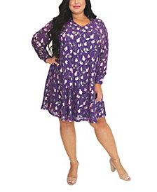 Women's Plus Size Foil Print Trapeze Dress