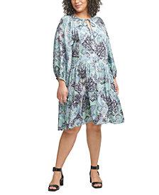 Calvin Klein Plus Size Printed Tiered Dress