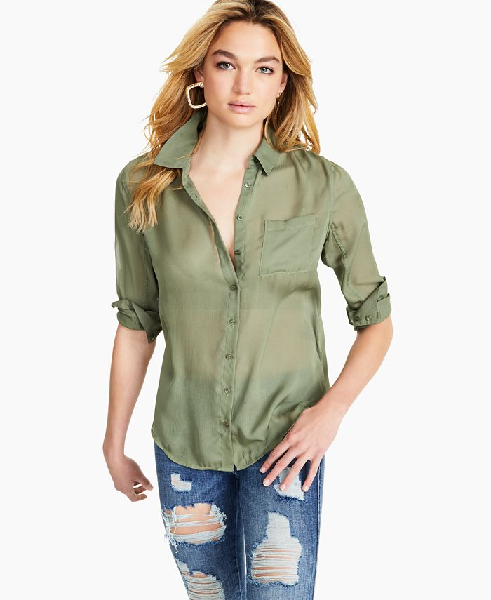 GUESS - Cleo Sheer Collared Top