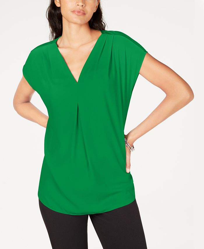 INC International Concepts - Inverted-Pleat V-Neck Top, Created for Macy's
