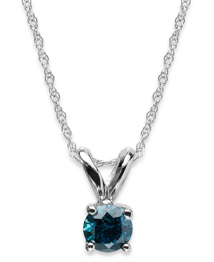 Macy's - 10k White Gold Blue Diamond Round Pendant Necklace (1/4 ct. t.w.)