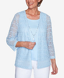 Plus Size Classics Popcorn Knit Two for One Top