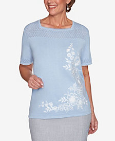 Plus Size French Bistro Asymmetric Floral Pointelle Yoke Sweater