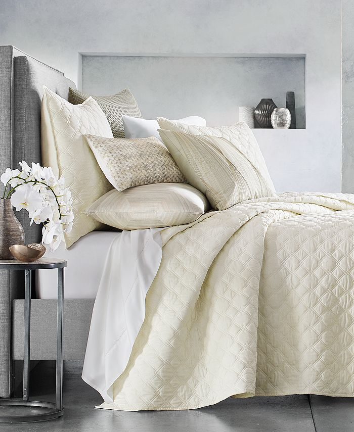 Hotel Collection - Luster Geo King Coverlet, Created for Macy's