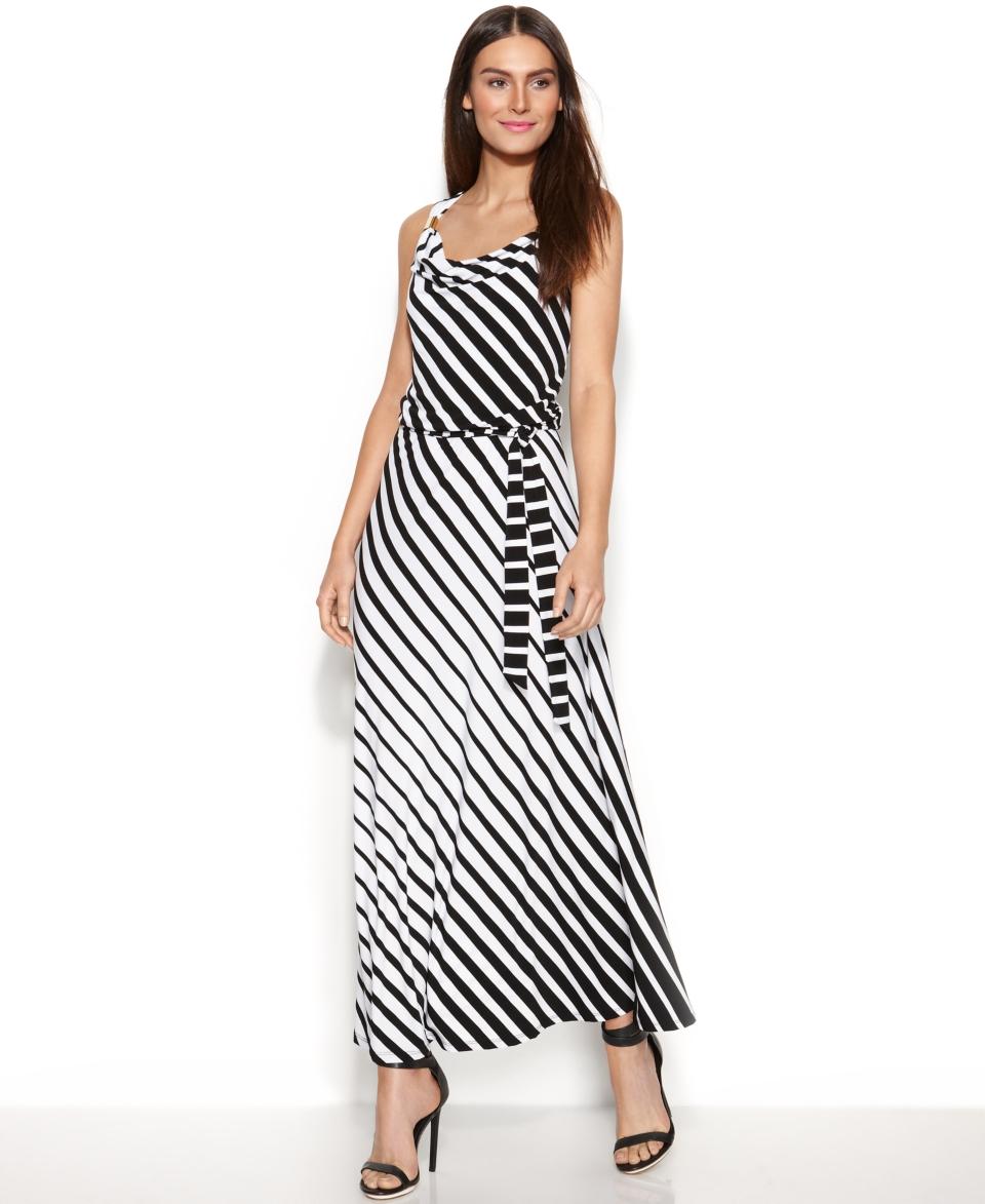 Calvin Klein Belted Striped Maxi Dress   Dresses   Women