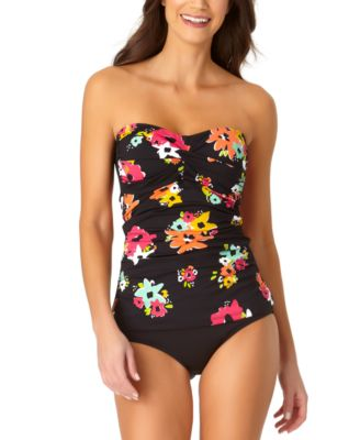 Island Bloom Twist Bandeau Tankini Top