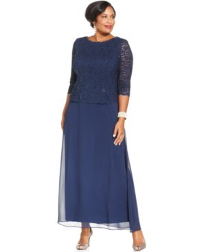 Alex Evenings Plus Size Three-Quarter-Sleeve Sequined Lace Gown