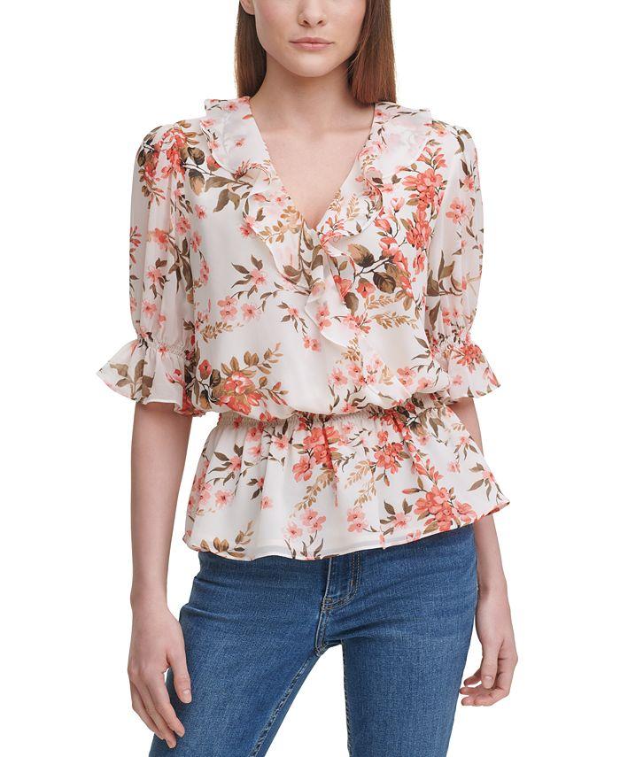 Calvin Klein - Ruffled Floral-Print Blouse