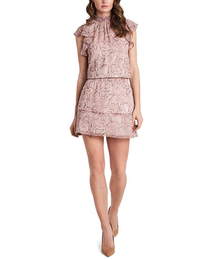 1.STATE - Smocked-Neck Flutter-Sleeve Dress