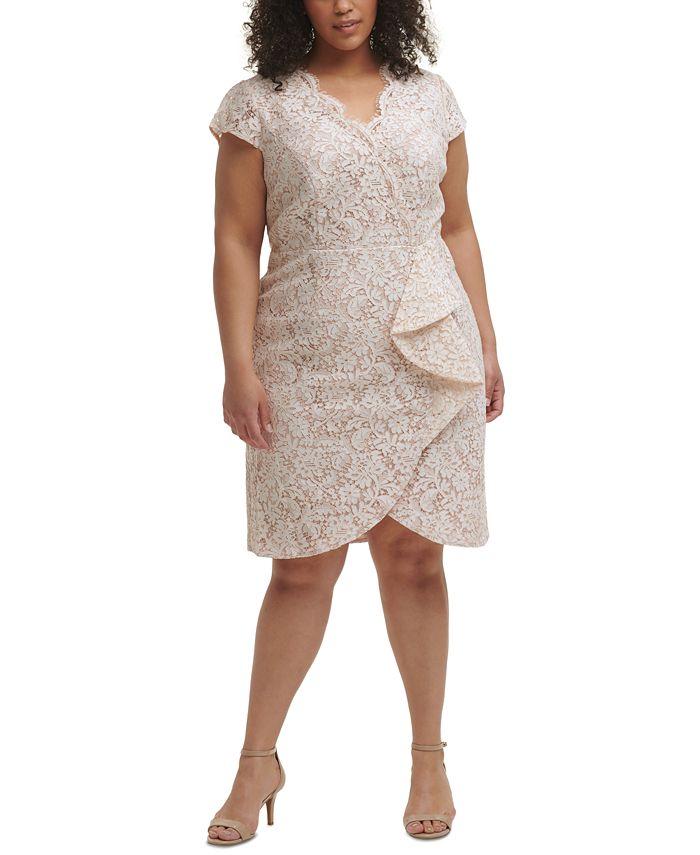 Vince Camuto - Plus Size Ruffle-Trim Lace Dress