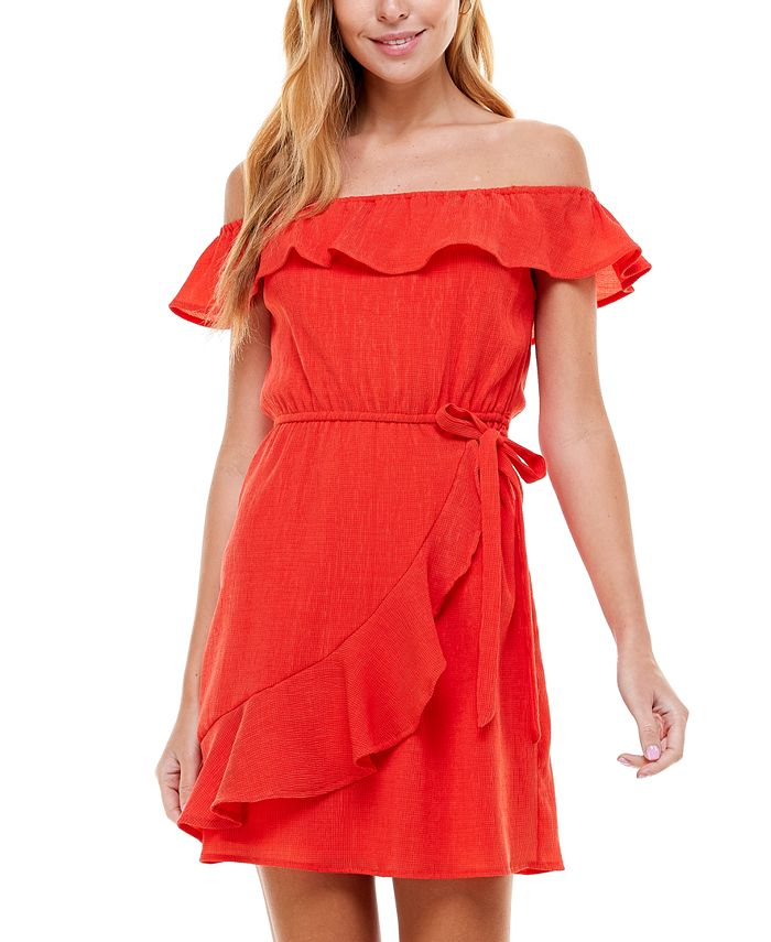 City Studios - Juniors' Off-The-Shoulder Ruffled Dress