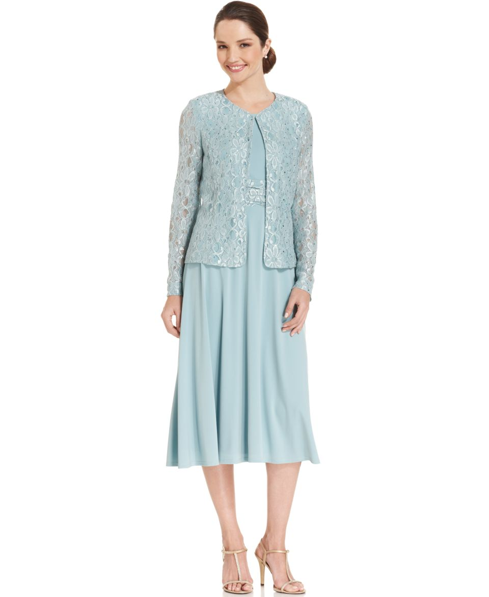 Jessica Howard Sleeveless Metallic Lace Dress and Jacket   Dresses   Women