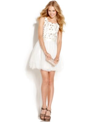 Trixxi Juniors Dress, Cap Sleeve Sequin Tulle
