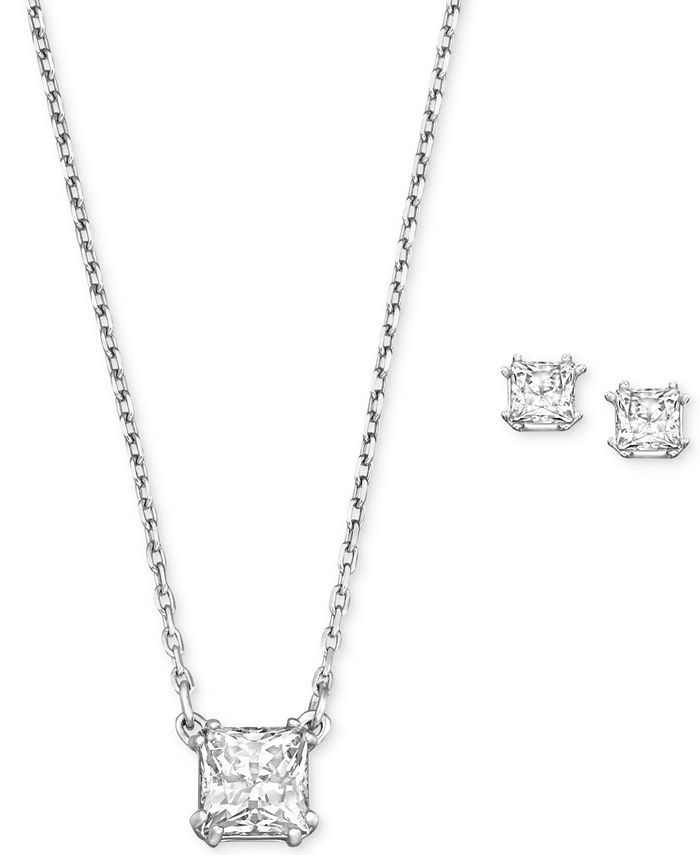 Swarovski - Rhodium-Plated Clear Crystal Square Stud Earrings and Pendant Necklace