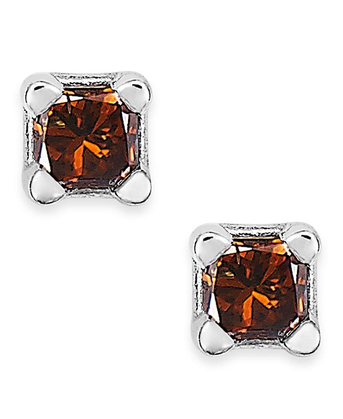 Macy's - 10k White Gold Red Diamond Stud Earrings (1/10 ct. t.w.)