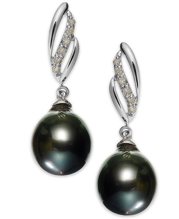 Macy's - 14k White Gold Tahitian Pearl (9mm) and Diamond (1/10 ct. t.w.) Drop Earrings