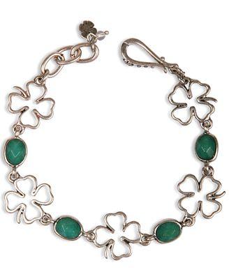 Lucky brand gold tone dyed jade clover bracelet jewelry for Macy s lucky brand jewelry