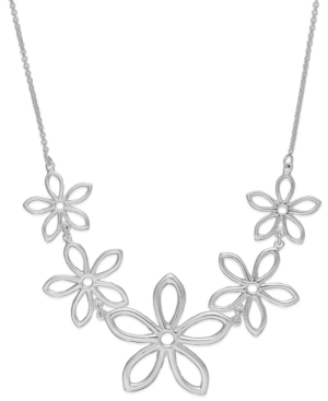Giani Bernini - Linked Flower Frontal Necklace in Sterling Silver