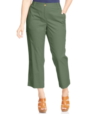 Charter Club Plus Size Straight-Leg Cropped Pants