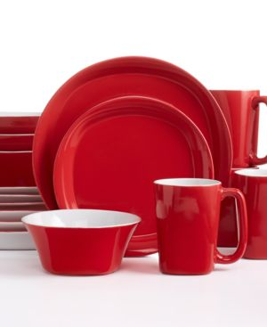 Rachael Ray Round and Square Red 16-Piece Dinnerware Set